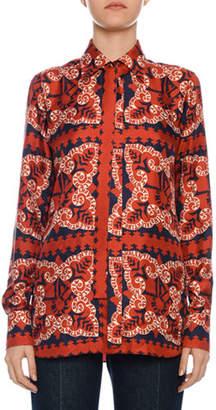 Valentino Bandana-Print Twill Button-Front Blouse