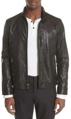 John Varvatos Collection Slim Fit Leather Jacket