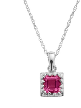 Tiara Sterling Silver Lab-Created Ruby Square Pendant
