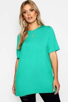 boohoo Plus Split Jersey Open Back T-Shirt