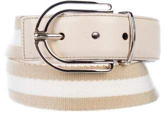 Gucci Leather-Trimmed Buckle Belt