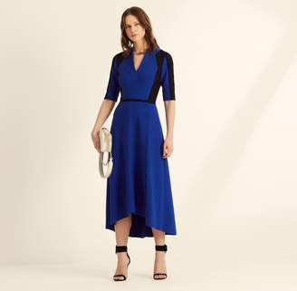 Amanda Wakeley Cobalt Colour Block Sculpted Midi Dress