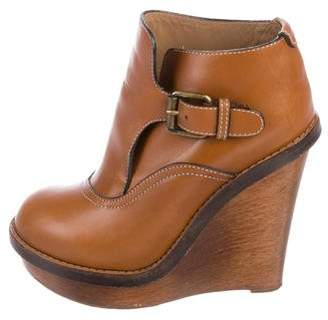 Chloé Leather Wedge Booties