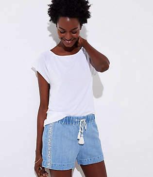 LOFT Embroidered Cotton Linen Denim Drawstring Shorts