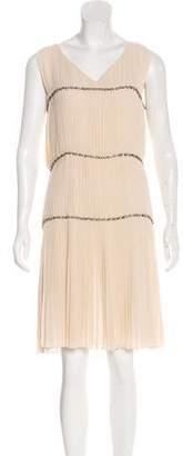 Alberta Ferretti Plisse Trim Knee-Length Dress
