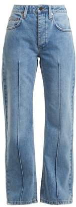 Raey Pin Pintuck Straight Leg Jean - Womens - Light Blue