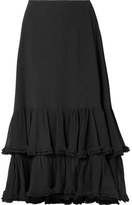 Chloé Tiered Cotton And Silk-blend Crepon Midi Skirt - Black