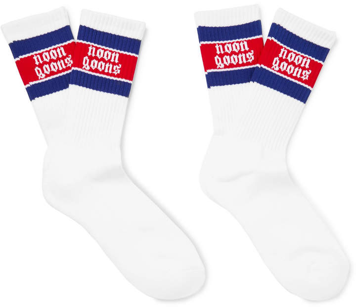 Two Pack Striped Stretch-Knit Socks