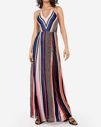 Express Striped Plunge Neck Trapeze Maxi Dress