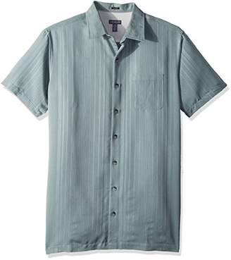 Van Heusen Men's Size Tall Slim Short Sleeve Button Down Rayon Poly Shirt