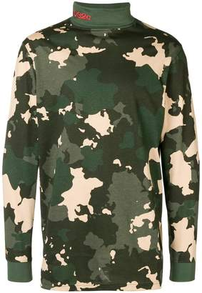 032c camouflage print turtleneck sweater