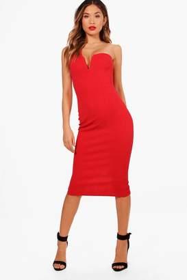boohoo One Shoulder Plunge Neck Midi Dress