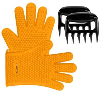 ?Heat Resistant?iMounTEK Silicone Bear Claws Barbecue Oven Cooking Gloves Mitts [Waterproof] Washable/Insulated [Finger/Hand/Wrist Protection] Baking Gloves For BBQ Smokers & Grilling - Orange