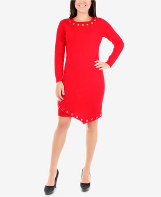 NY Collection Petite Grommeted Sweater Dress