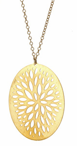 Kris Nations Gold Falling Leaves Pendant Necklace