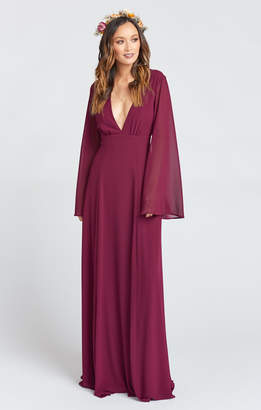 Show Me Your Mumu Venus Long Sleeve Flare Dress ~ Merlot Chiffon