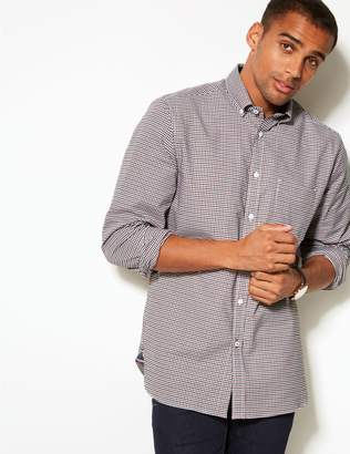Marks and Spencer Cotton Rich Checked Oxford Shirt with Pocket