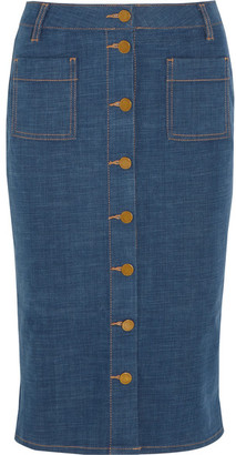 Tory Burch - Rivoli Stretch-denim Pencil Skirt - Mid denim $255 thestylecure.com