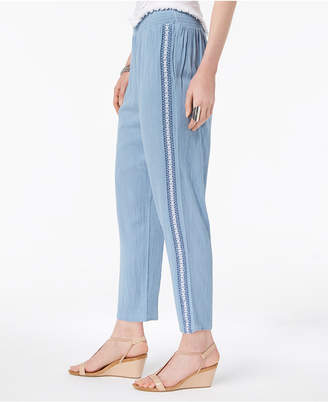 Style&Co. Style & Co Crochet-Trim Pull-On Pants, Created for Macy's