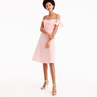 Off-the-shoulder seersucker dress with ties $158 thestylecure.com