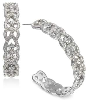 """INC International Concepts I.n.c. Large 1.6"""" Silver-Tone Crystal Open Hoop Earrings, Created for Macy's"""