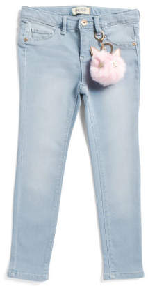 Little Girls Skinny Knit Jeans With Kitty Pom Key Chain