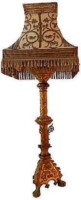 One Kings Lane Vintage Antique Bronze Lamp W /Silk Shade