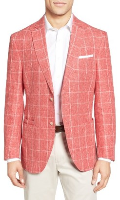 Men's Jkt New York Trim Fit Windowpane Linen Sport Coat $498 thestylecure.com