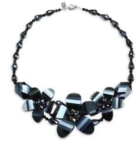 Kenneth Jay Lane Hematite Flower Necklace