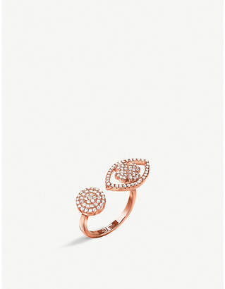 Folli Follie Miss Heart4Heart Mati rose gold-plated and cubic zirconia evil eye ring