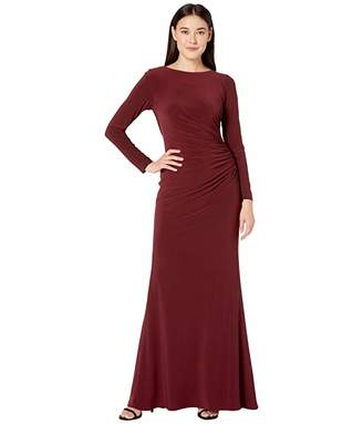 Adrianna Papell Draped Beaded Cowl Back Jersey Gown
