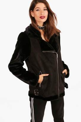 boohoo Alex Faux Fur Sleeve Aviator Jacket