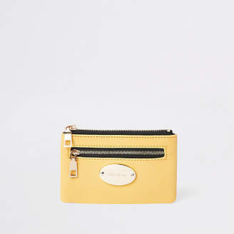 River Island Yellow zip pouch card holder