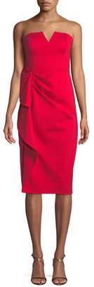 Aidan Mattox Strapless Midi Dress w/ Side Ruching