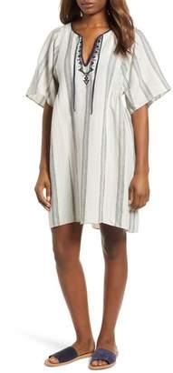 Caslon Stripe Linen Keyhole Shift Dress