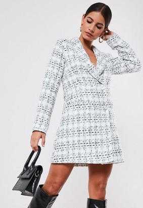 Missguided Petite White Tweed Double Breasted Blazer Dress