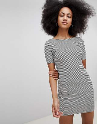 Pull&Bear ribbed scoop back jersey dress in multi stripe
