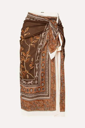 Johanna Ortiz Welcome To The Jungle Printed Cotton-voile Pareo - Brown