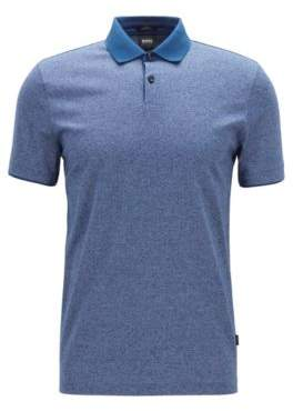 4fdc587b7 BOSS Slim-fit polo shirt in mouline cotton with contrast collar