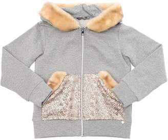 Sequined Cotton Sweater W/ Faux Fur