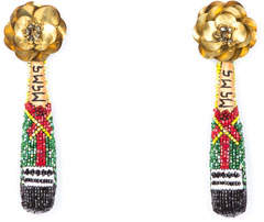 Mignonne Gavigan Champagne Beaded Drop Earrings