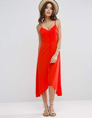 ASOS Midi Button Through Sun Dress With Dipped Hem $40 thestylecure.com