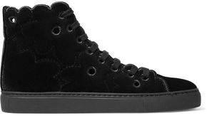 Simone Rocha Eyelet-Embellished Velvet High-Top Sneakers