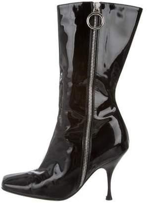Celine Patent Leather Square-Toe Boots
