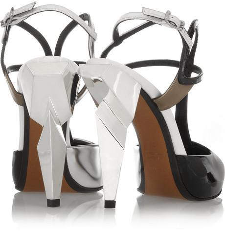 Fendi Tri-tone metallic leather pumps