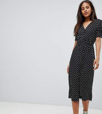 Influence Tall Shirred Sleeve Polka Dot Midi Dress