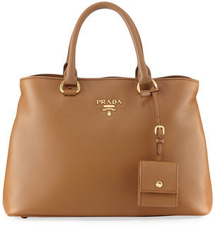 Prada Pebbled Shoulder Tote Bag, Toast $1,850 thestylecure.com