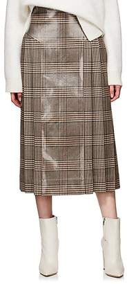Fendi Women's Coated Plaid Wool Tweed Skirt