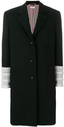Thom Browne Pearl Embroidered Crepe Sack Overcoat