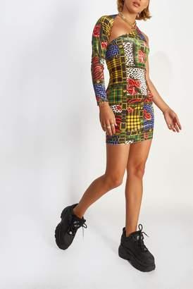 Jaded London Womens **Printed Velvet Bodycon Dress By Multi